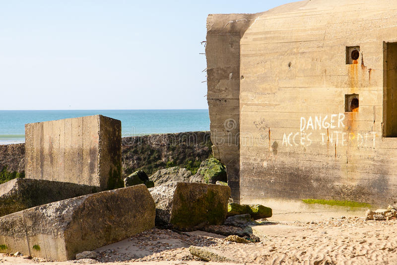 German wwii bunkers. Atlantic Wall bunkers on the Wissant beach, Nord-Pas-de-Calais – France stock photos