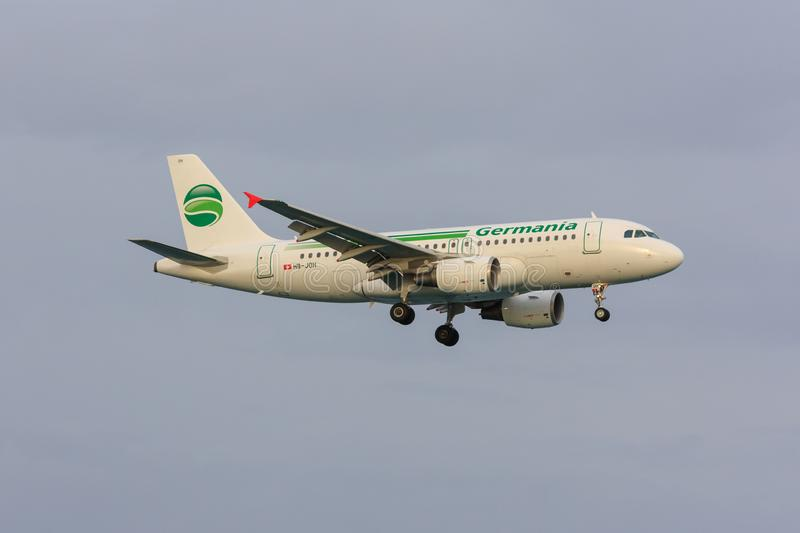 Germania Airbus A319. An Airbus A319 of Germania, a German airline, on approach royalty free stock photography
