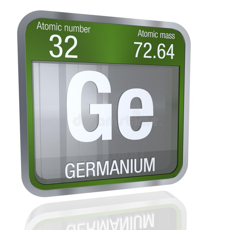 Germanium Symbol In Square Shape With Metallic Border And