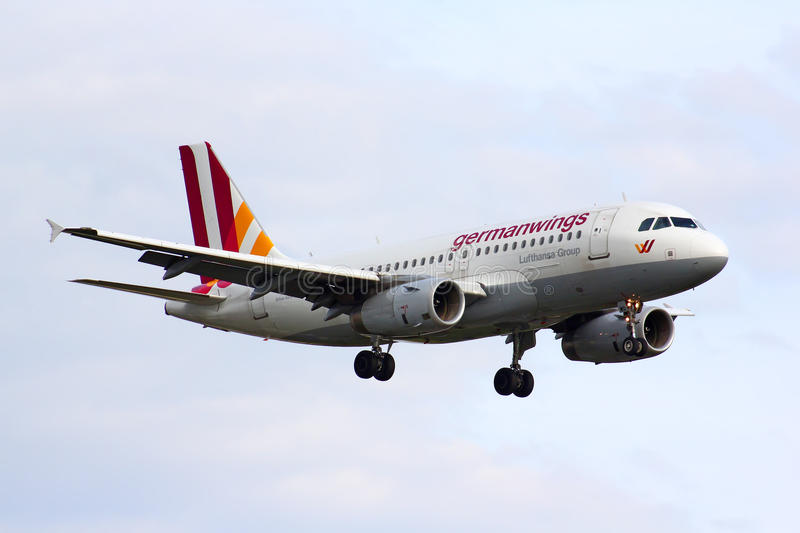 Germanwings Airbus A319. BERLIN, GERMANY - AUGUST 17, 2014: Germanwings Airbus A319 arrives to the Tegel International Airport stock photography