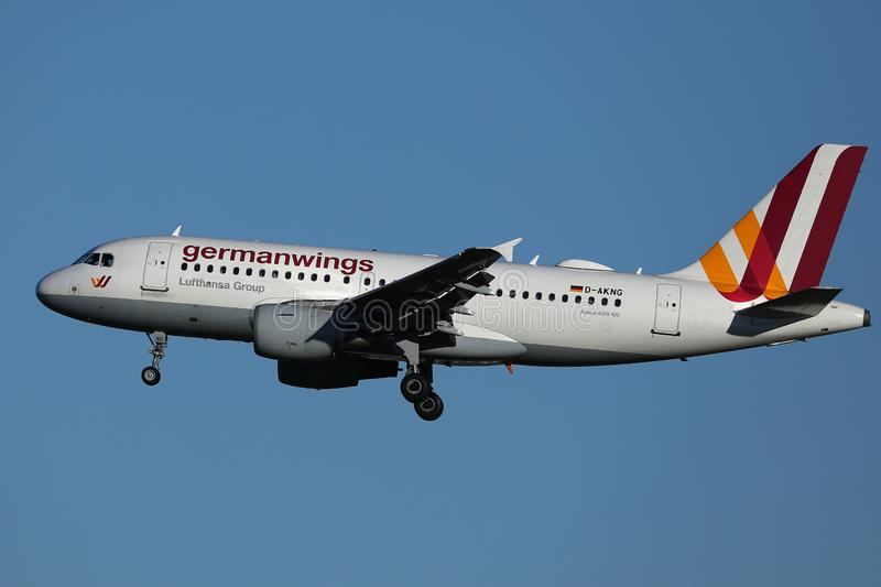 Germanwings plane in the sky. Germanwings plane flying up in the blue sky. Germanwings GmbH is a German low-cost airline wholly owned by Lufthansa operating stock images