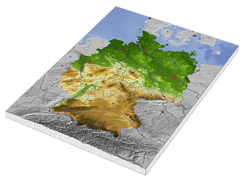 Download Germany, 3D relief map stock illustration. Illustration of chart - 2972465