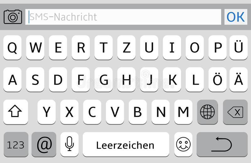 Germany Alphabet Virtual Keyboard  Vector Phone Chat Interface