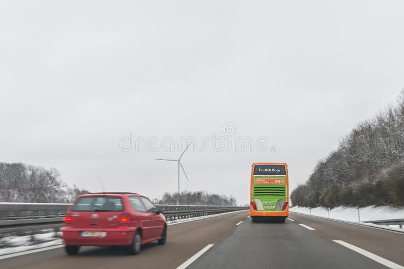 Flixbus Bus and cars on the autobahn A6 direction to Nürnberg, Germ stock image