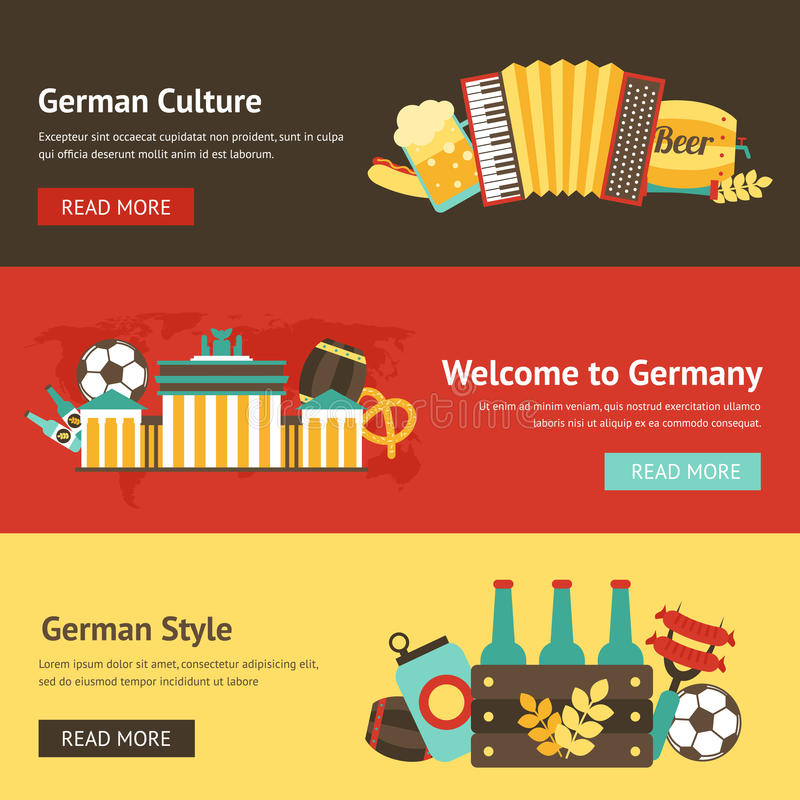 Germany banner set. With culture style beer food landmarks isolated vector illustration stock illustration
