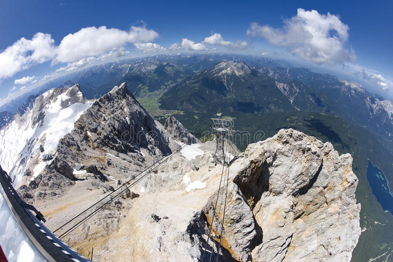Germany, Bavaria, Zugspitze Mountain and Valley, elevated view stock image