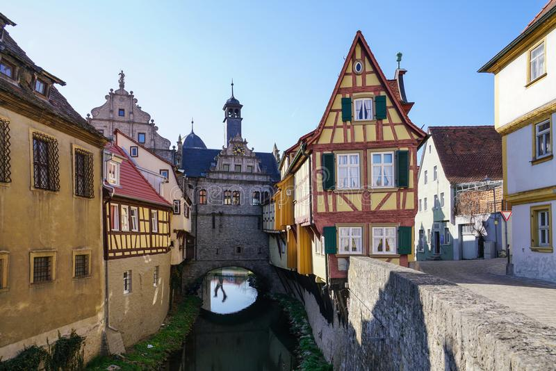 Germany Bavarian Franken Marktbreit Malerwinkel. NLittle old town on river Main near Wuerzburg.nCreate on April 8, 2018 royalty free stock image