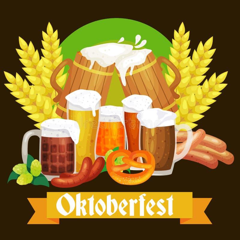 Germany beer festival oktoberfest, bavarian beer in glass mug, traditional party celebration, vector illustration.  vector illustration
