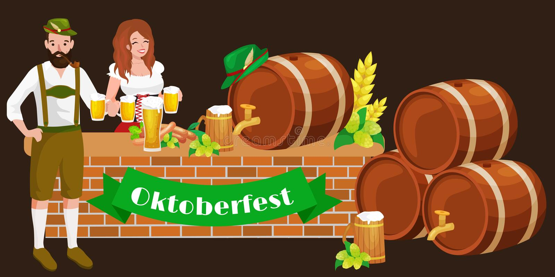 Germany beer festival oktoberfest, bavarian beer in glass mug, traditional party celebration, vector illustration.  stock illustration