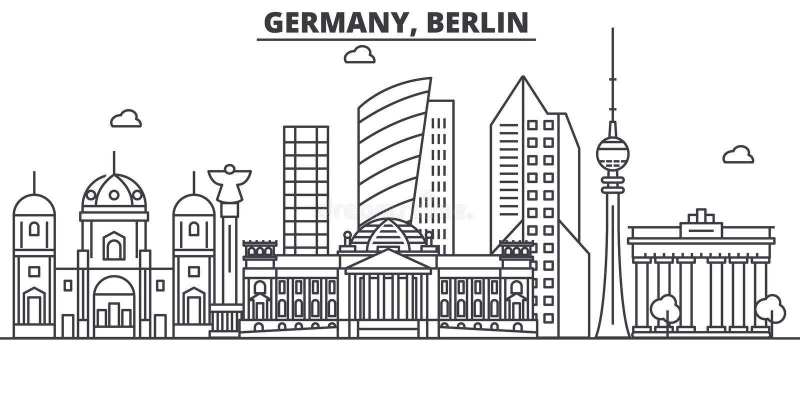 Germany, Berlin architecture line skyline illustration. Linear vector cityscape with famous landmarks, city sights stock illustration