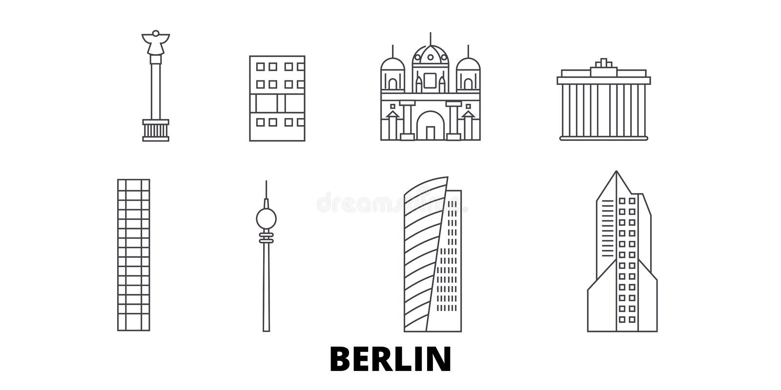 Germany, Berlin City line travel skyline set. Germany, Berlin City outline city vector illustration, symbol, travel stock illustration