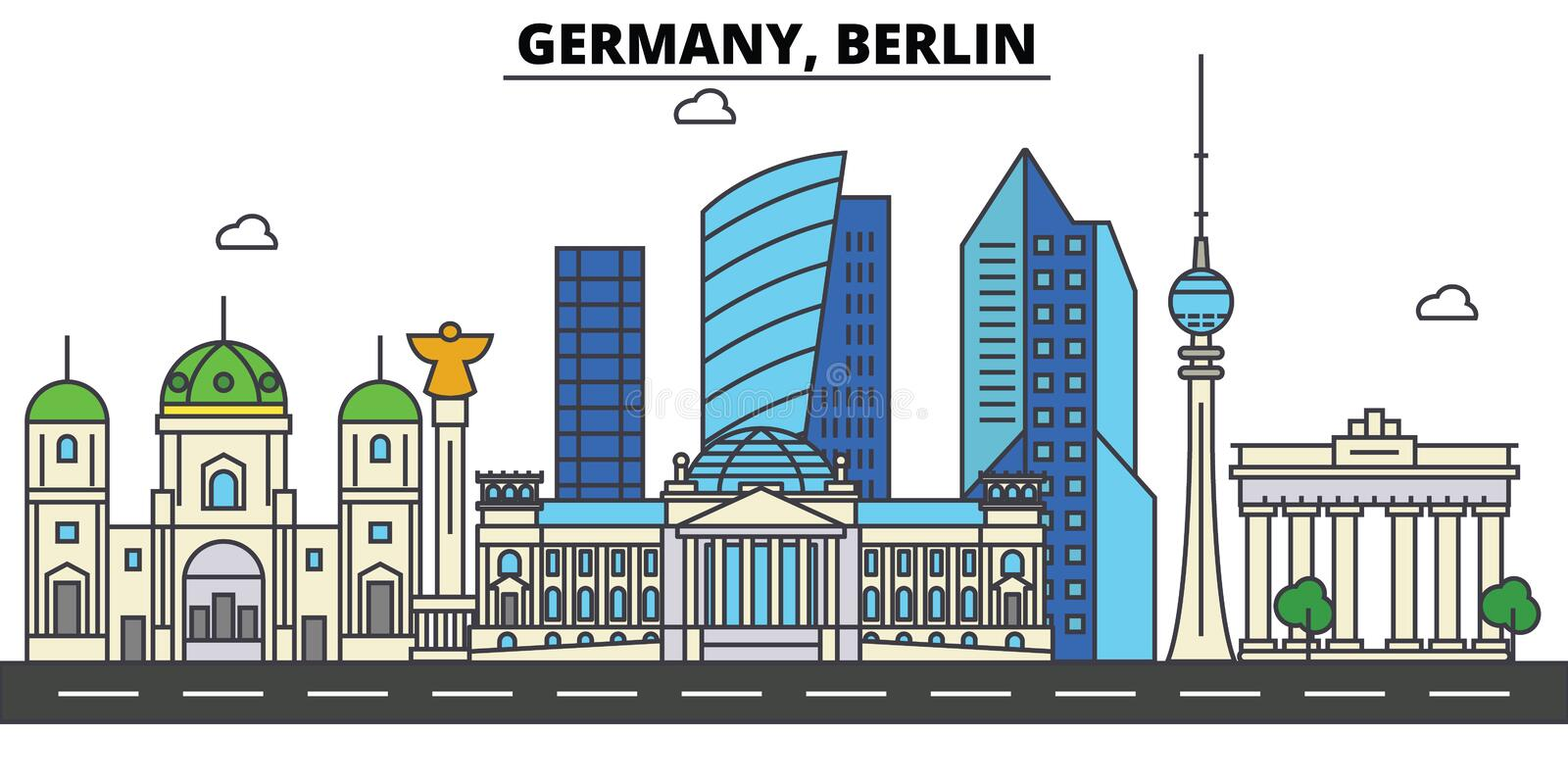 Germany, Berlin. City skyline architecture . Editable vector illustration