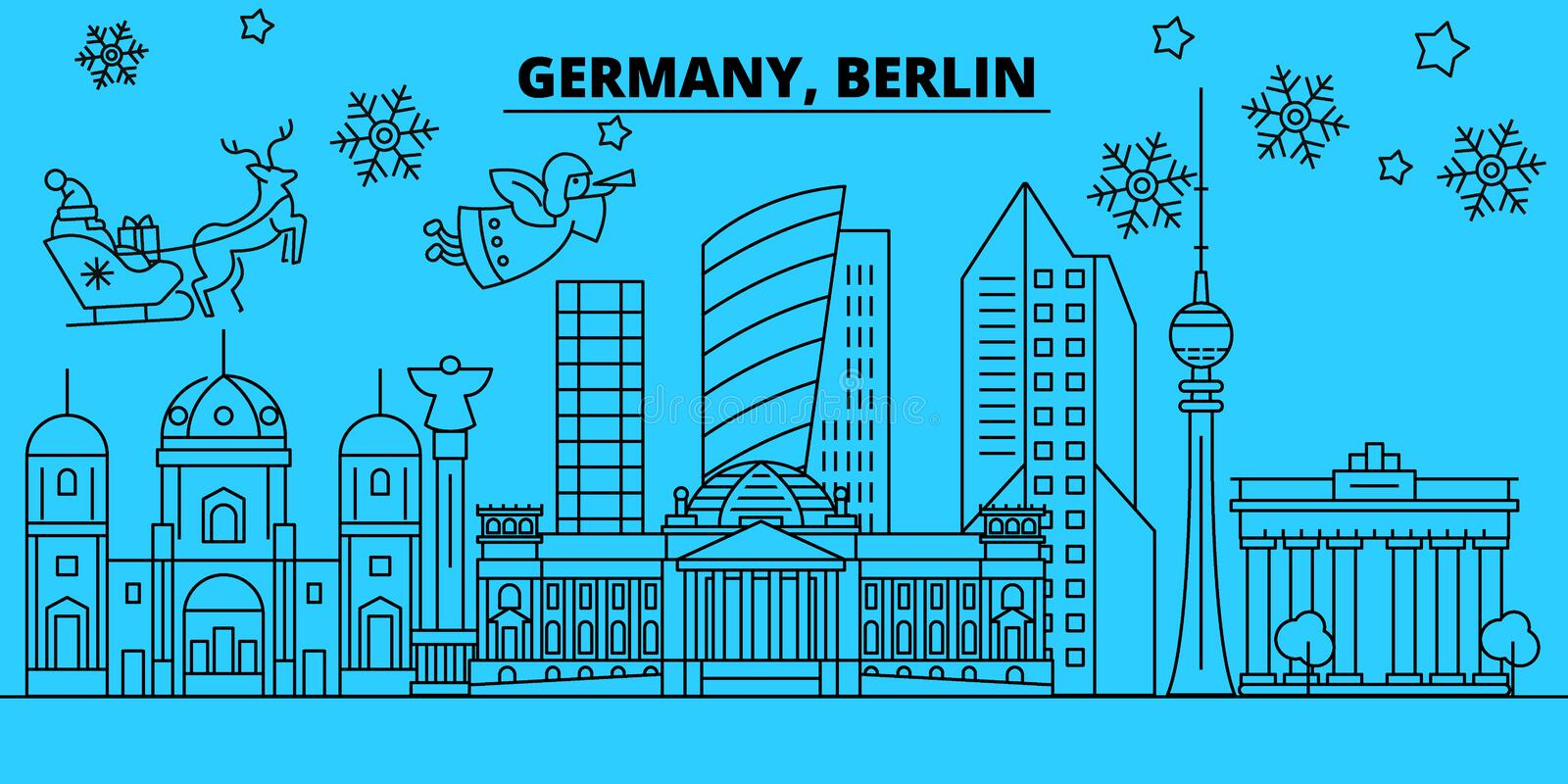 Germany, Berlin city winter holidays skyline. Merry Christmas, Happy New Year decorated banner with Santa Claus.Germany royalty free illustration