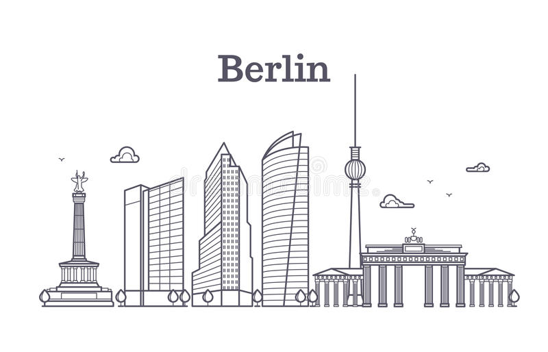 Germany berlin line vector landscape, city panoramic houses stock illustration