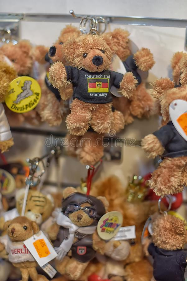 Souvenir toy bears in souvenir shop for tourists royalty free stock image