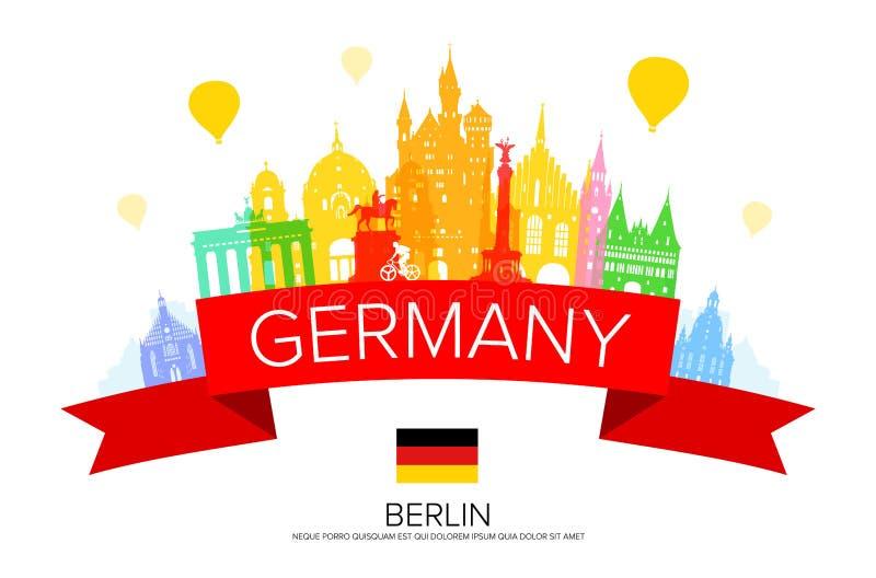 Germany, Berlin travel landmark. Vector and Illustration vector illustration