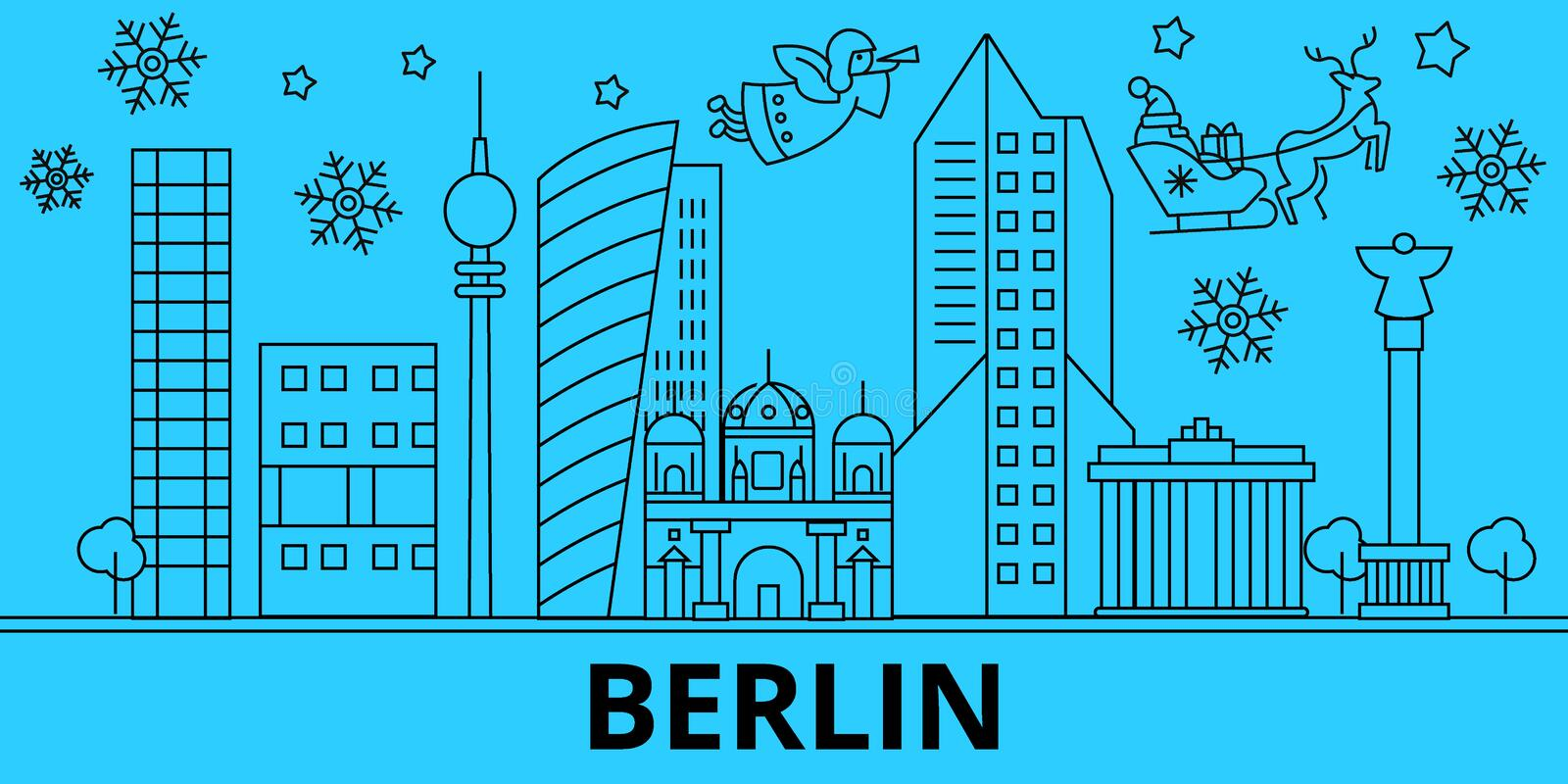 Germany, Berlin winter holidays skyline. Merry Christmas, Happy New Year decorated banner with Santa Claus.Germany vector illustration