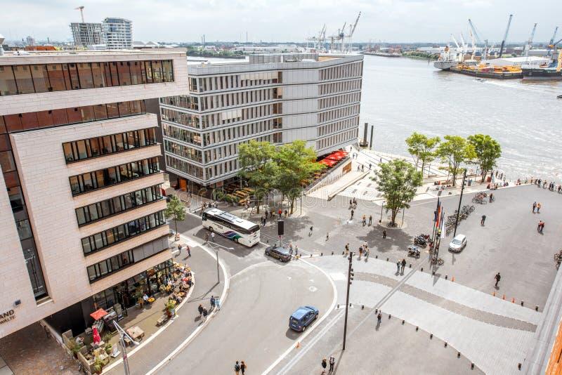 Germany.Boat视图的汉堡市在奥尔顿区 库存图片
