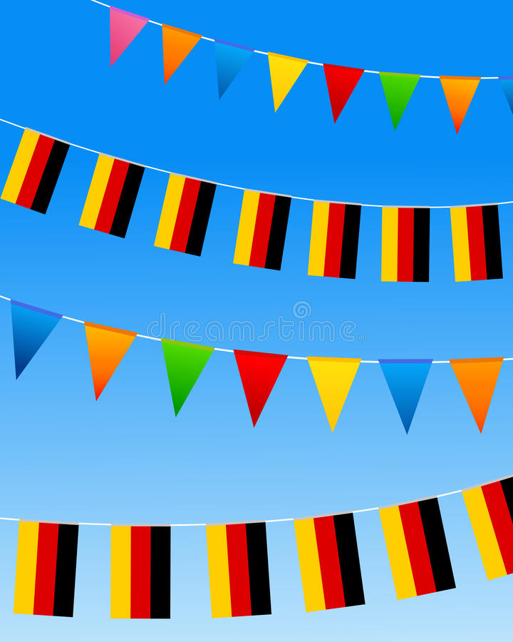 Germany Bunting flags. On a blue sky. Vector illustration stock illustration