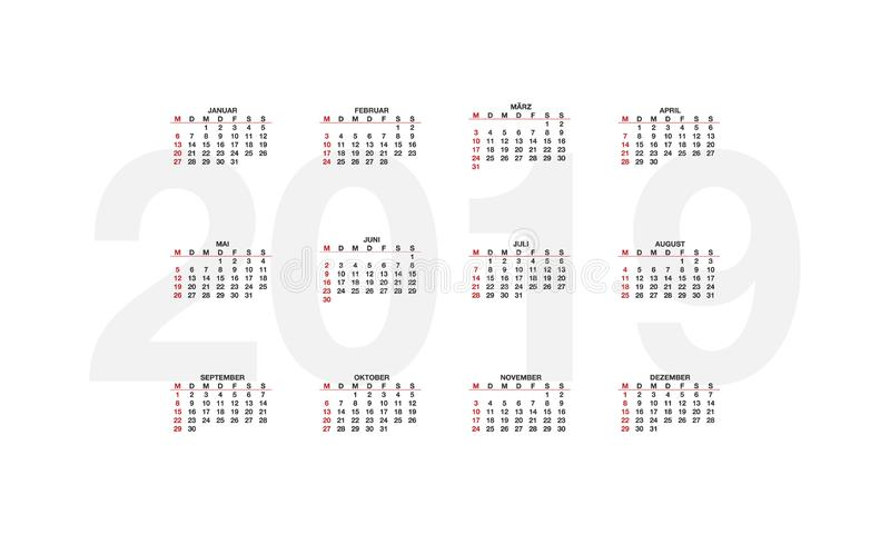 Germany calendar for 2019 years, week starts on Monday. Design calender on white background, royalty free illustration