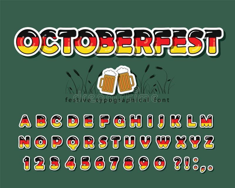 Germany cartoon font. German national flag colors. Octoberfest design. Paper cutout bright alphabet. Vector. Illustration royalty free illustration