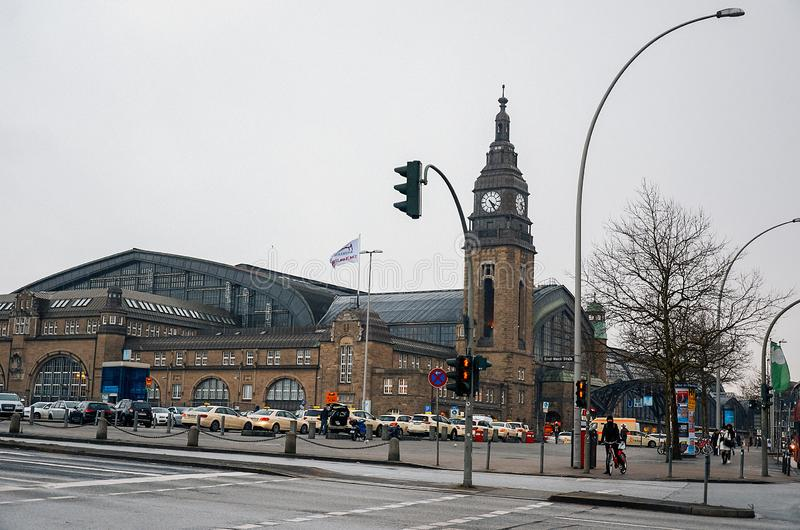 Germany. The central railway station `Hauptbannhof ` in Hamburg. February 12, 2018 stock photos