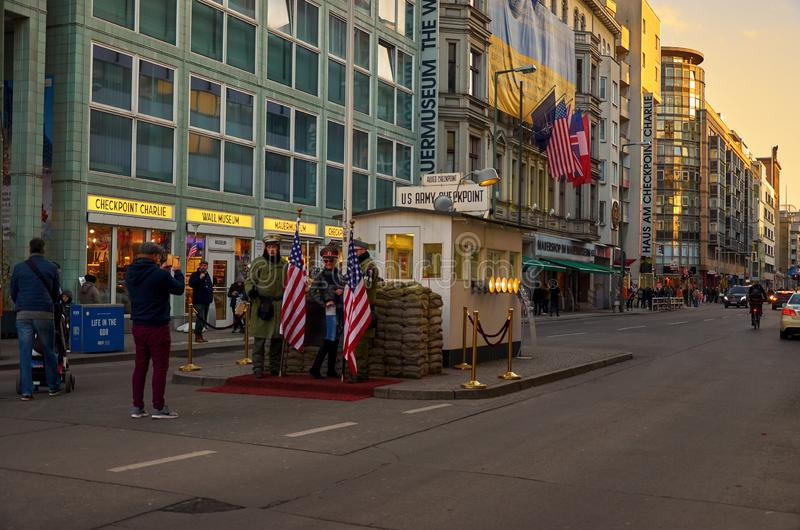 Germany. Checkpoint `Charlie ` in Berlin. February 16, 2018 royalty free stock photos