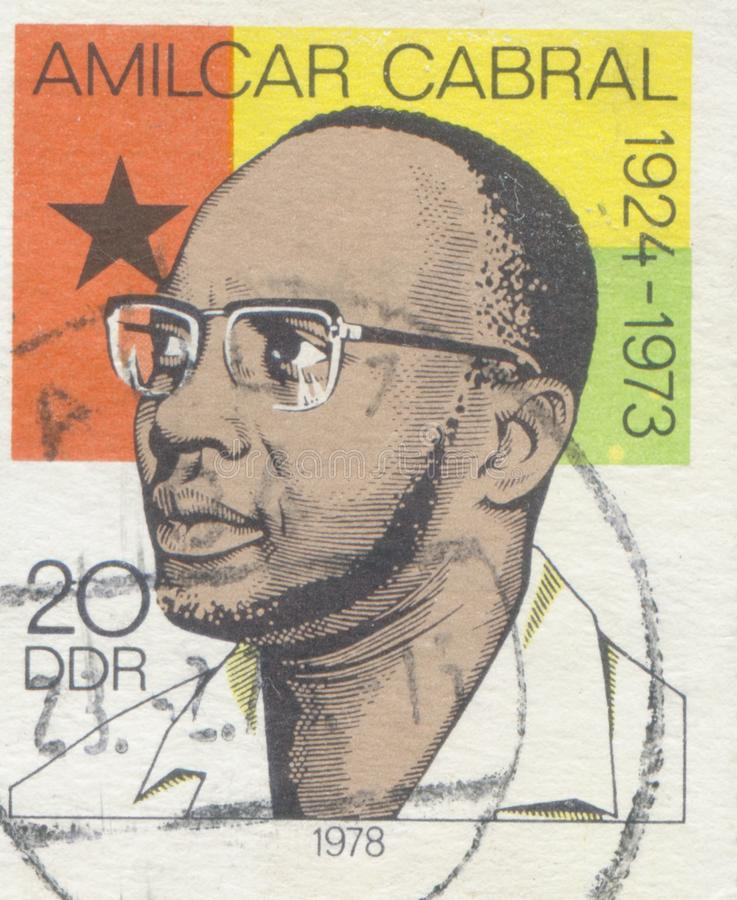 GERMANY - CIRCA 1978: A stamp printed in Cuba shows portrait of Amilcar Cabral Guinea Bissau freedom fighter , circa. GERMANY - CIRCA 1978: A stamp printed in royalty free stock images