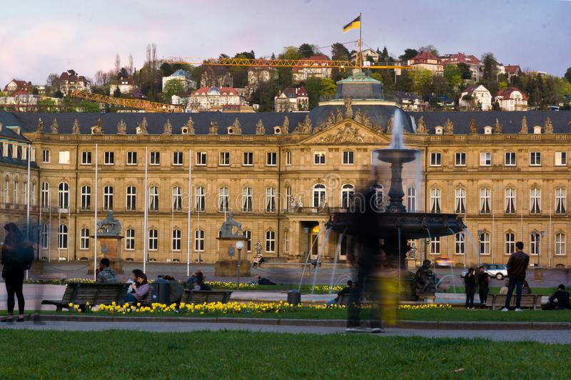 Water fountain in front of castle stuttgart royalty free stock image