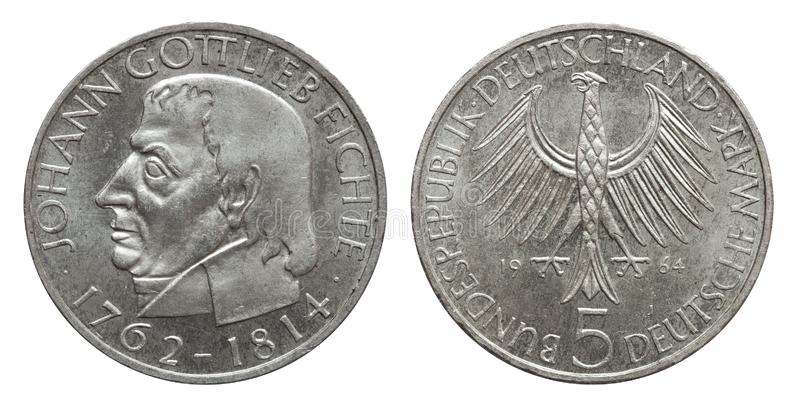 Germany collector coin 5 mark Fichte 1964 silver. Front Johann Gottlieb Fichte, reverse eagle royalty free stock photos