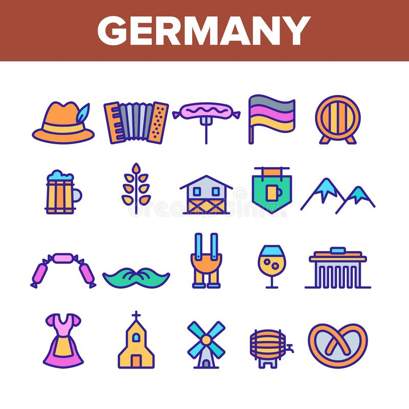Germany Country Culture Elements Icons Set Vector. Thin Line. Germany Flag And Mountain, National Hat And Suit, Food And Beer Concept Linear Pictograms vector illustration