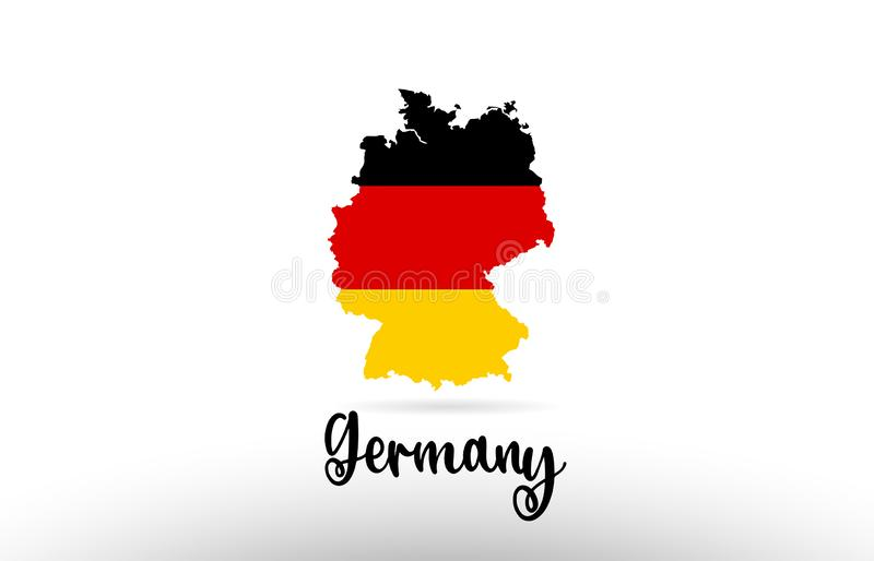 Germany country flag inside map contour design icon logo. Germany country flag inside country border map design suitable for a logo icon design vector illustration