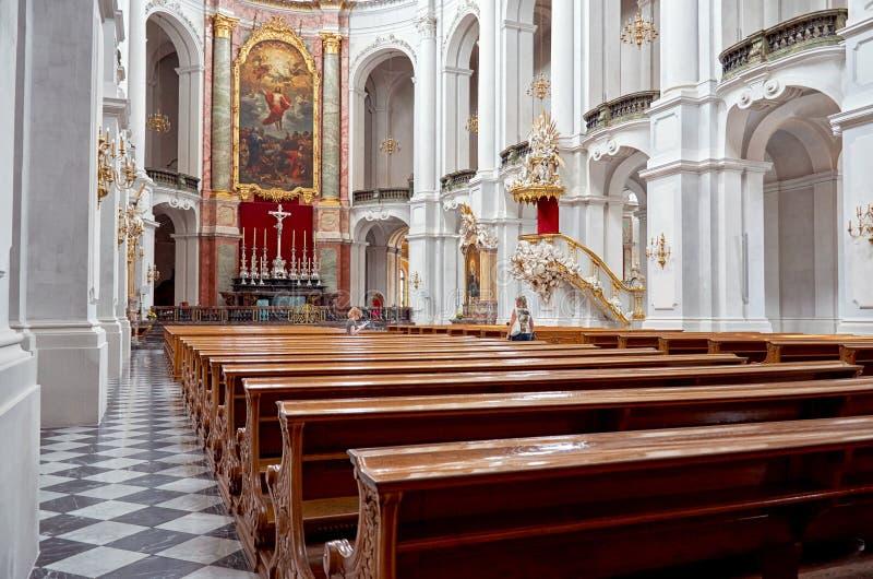 germany Domkyrka på teaterfyrkanten i Dresden 16 Juni 2016 fotografering för bildbyråer