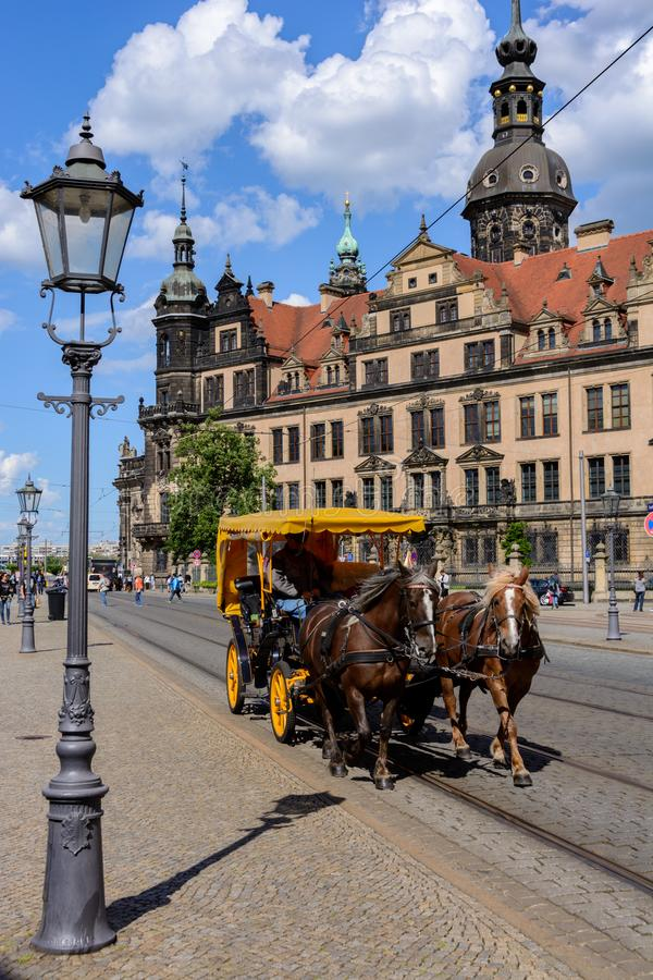 Horse ride in the center of Dresden royalty free stock photo