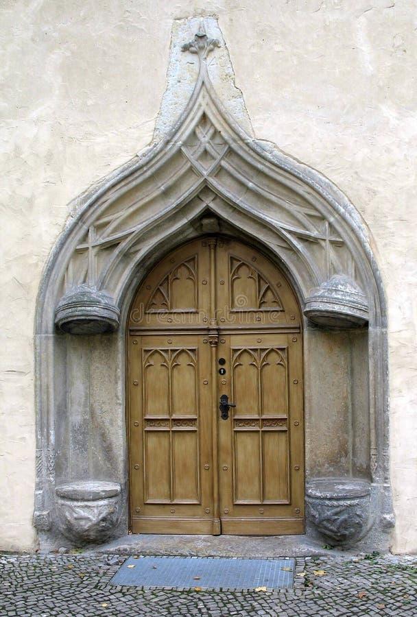germany för tät dörr gammal övre wittenberg royaltyfria bilder