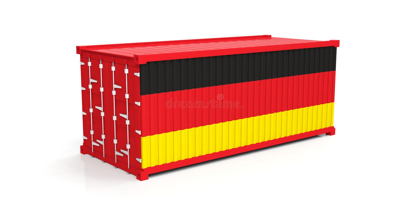 Germany flag on container. 3d illustration vector illustration