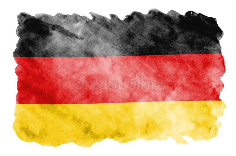 Germany flag is depicted in liquid watercolor style isolated on white background. Careless paint shading with image of national flag. Independence Day banner stock photos