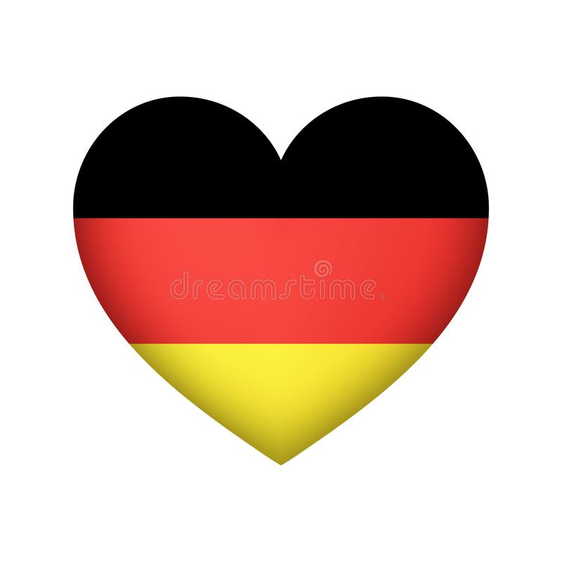 Germany flag Heart shape vector illustration. Flag of Germany Heart shape flag vector design stock illustration