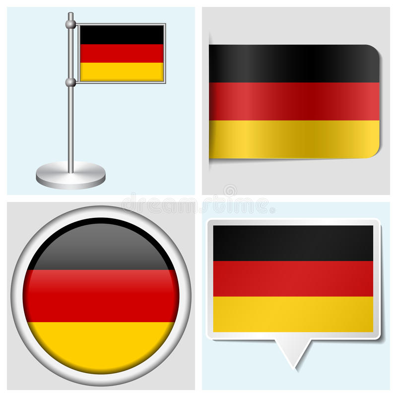 Germany Flag - Set Of Sticker, Button, Label Royalty Free Stock Image
