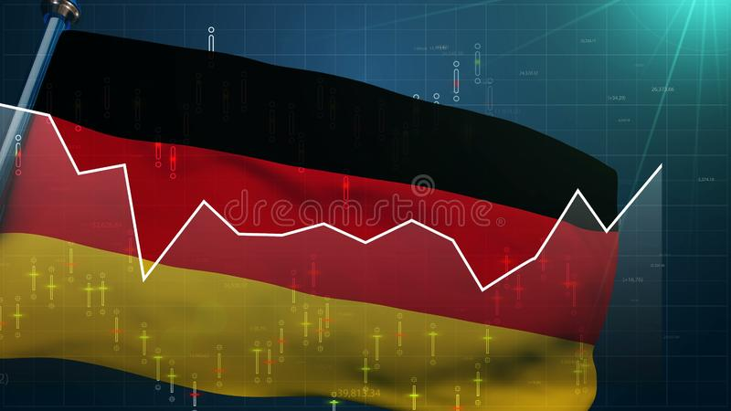 Germany flag stock market background, trade finance DAX, euro exchange currency. Stock photo royalty free illustration