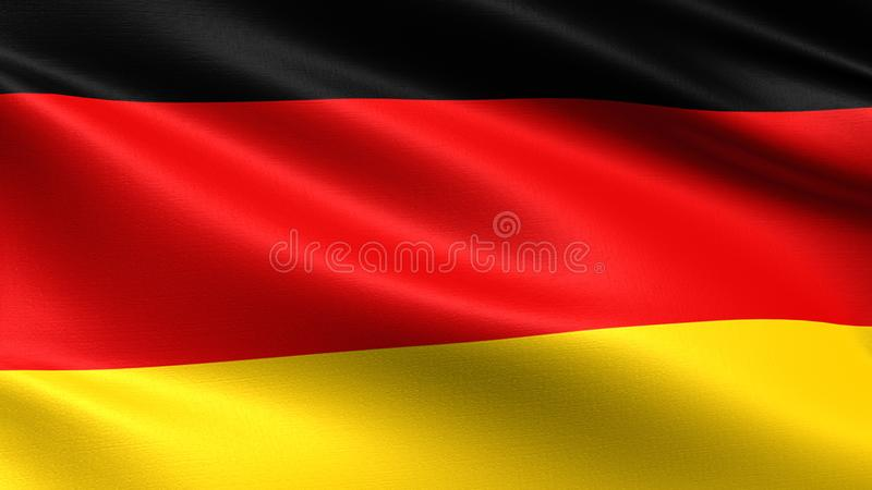 Germany flag, with waving fabric texture royalty free illustration