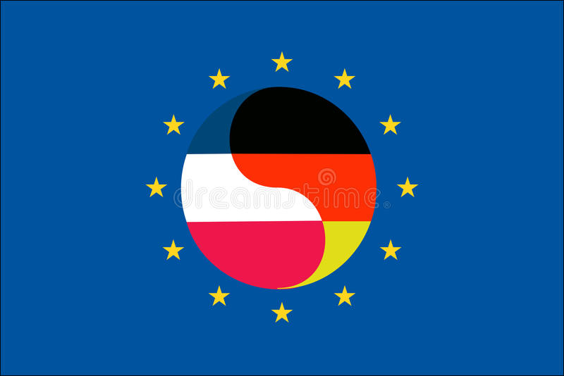 Germany and France in the EU. Germany and France within the European Union; symbol for the strong business relationship between both countries, which is vector illustration