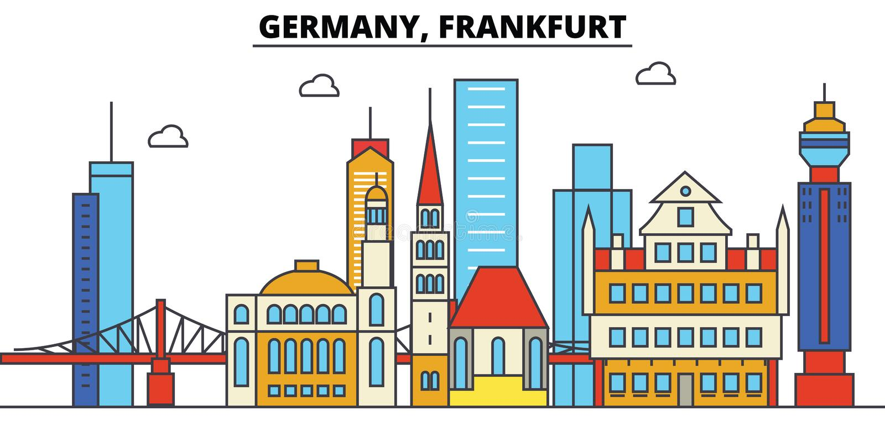 Germany, Frankfurt. City skyline architecture . Editable. Germany, Frankfurt. City skyline architecture, buildings, streets, silhouette, landscape, panorama vector illustration