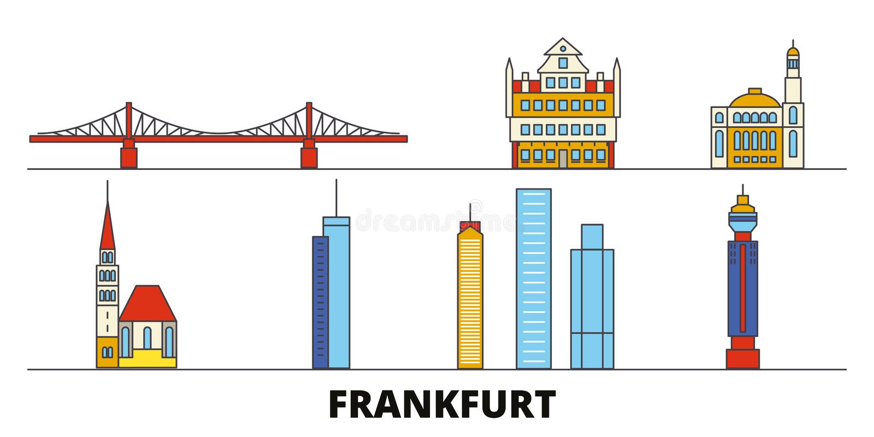Germany, Frankfurt flat landmarks vector illustration. Germany, Frankfurt line city with famous travel sights, skyline. Germany, Frankfurt flat landmarks vector vector illustration