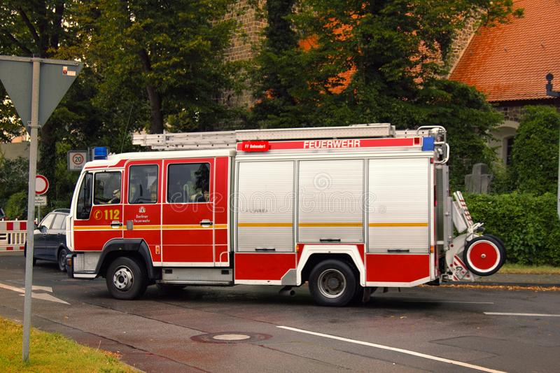 German firefighters special red-white colour royalty free stock photos