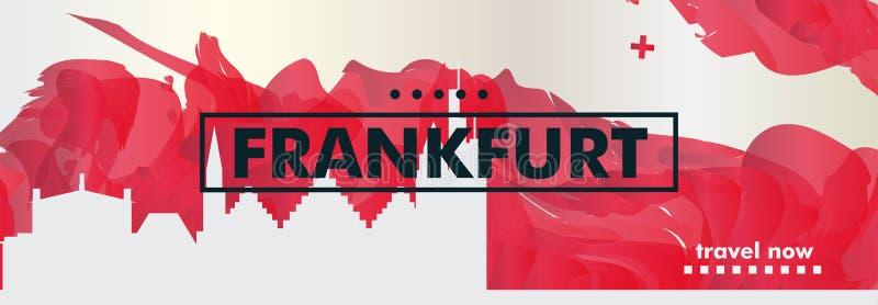 Germany Frankfurt skyline city gradient vector banner. Modern Germany Frankfurt skyline abstract gradient website banner art. Travel guide cover city vector stock illustration