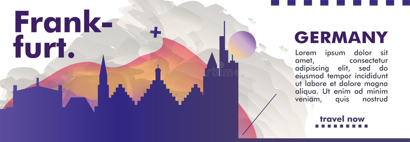 Germany Frankfurt skyline city gradient vector banner. Modern Germany Frankfurt skyline abstract gradient website banner art. Travel guide cover city vector vector illustration