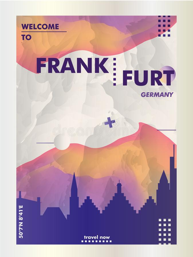 Germany Frankfurt skyline city gradient vector poster. Modern Germany Frankfurt skyline abstract gradient poster art. Travel guide cover city vector illustration royalty free illustration