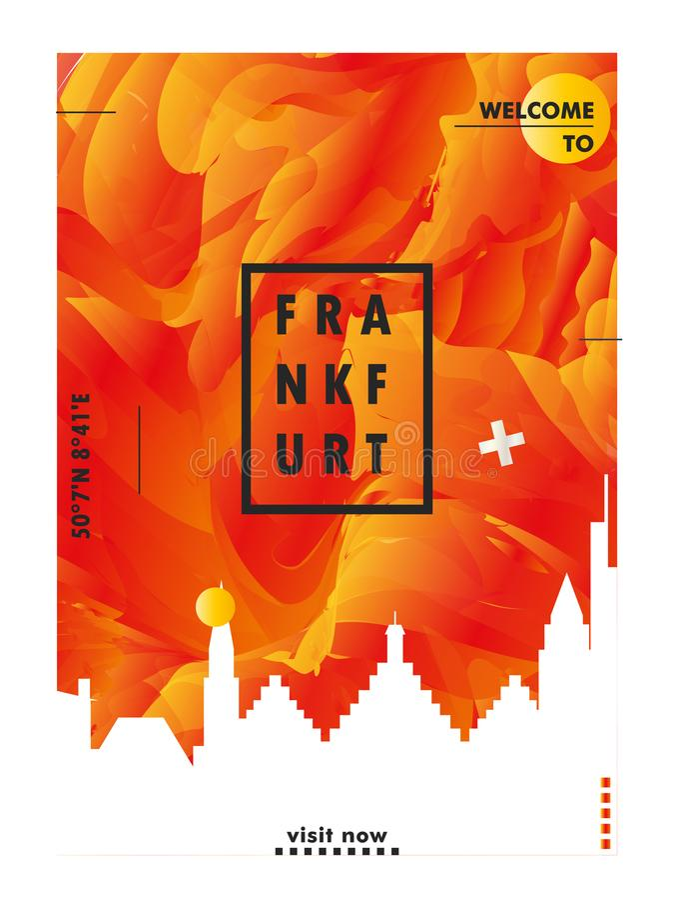 Germany Frankfurt skyline city gradient vector poster. Modern Germany Frankfurt skyline abstract gradient poster art. Travel guide cover city vector illustration stock illustration