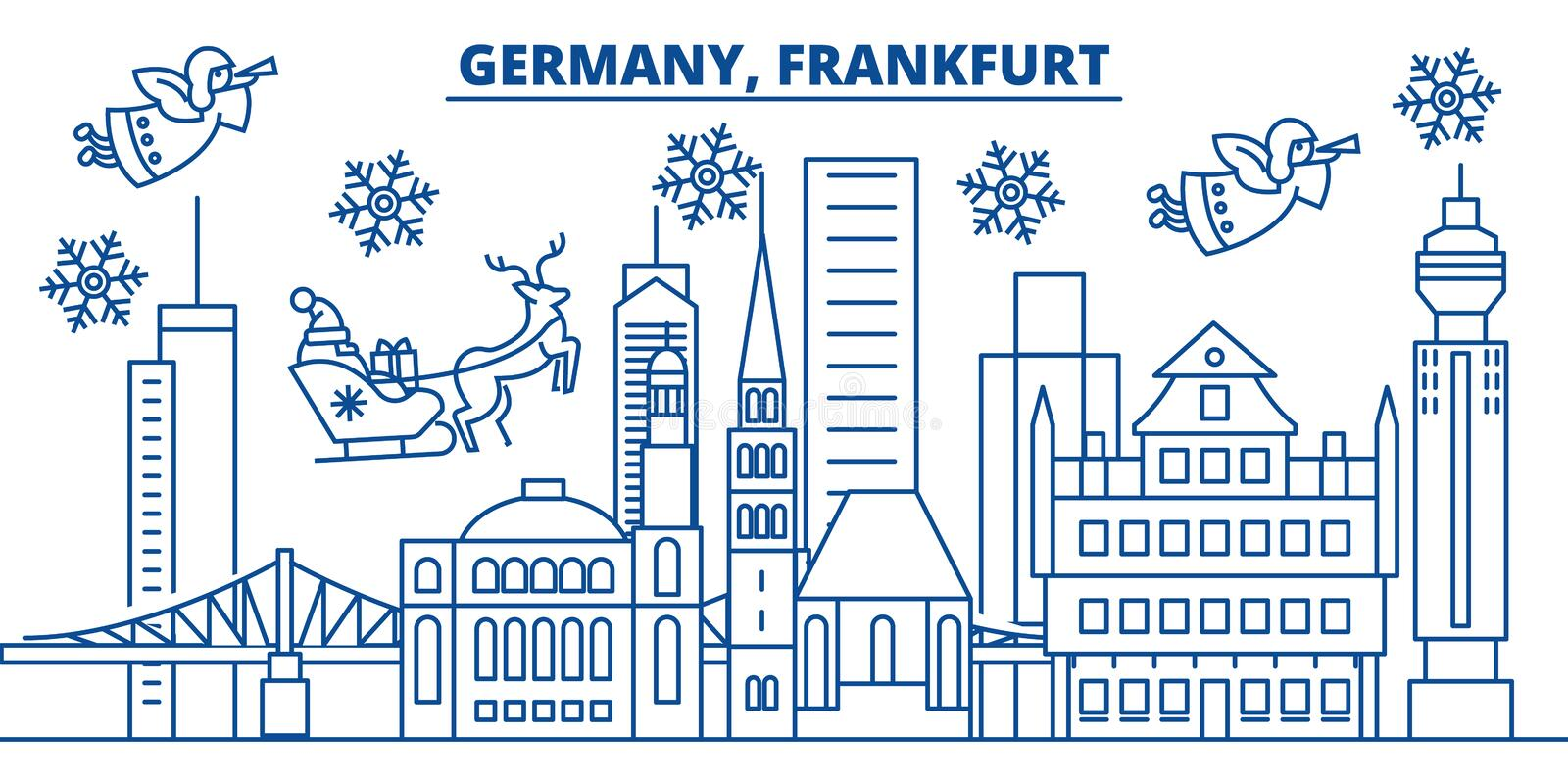 Germany, Frankfurt winter city skyline. Merry Christmas,. Happy New Year decorated banner with Santa Claus.Winter greeting line card.Flat, outline vector royalty free illustration